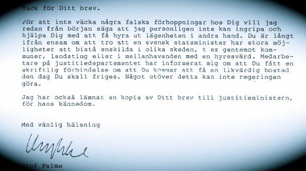 Brevet från Olof Palme